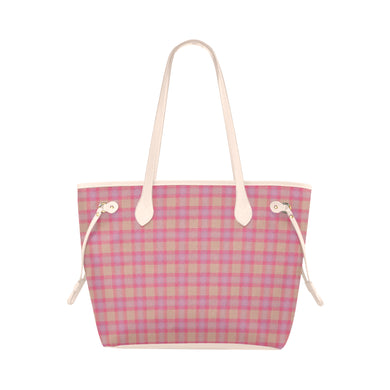 Pink Purple Plaid Clover Canvas Tote Bag (Model 1661)
