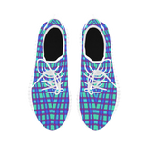 Bluish Plaid Grus Women's Breathable Woven Running Shoes (Model 022)