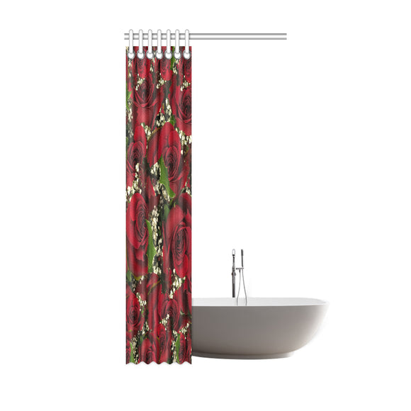 Carmine Roses Shower Curtain 36