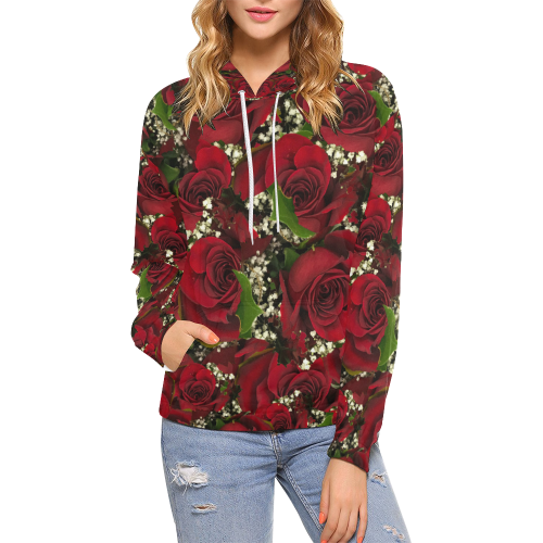 Carmine Roses Women's All Over Print Hoodie (USA Size) (Model H13)
