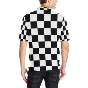 Black White Checkers Men's All Over Print Polo Shirt (Model T55)