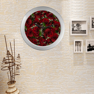 Carmine Roses Silver Color Wall Clock