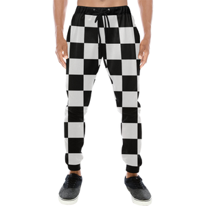 Black White Checkers Men's All Over Print Sweatpants (Model L11)