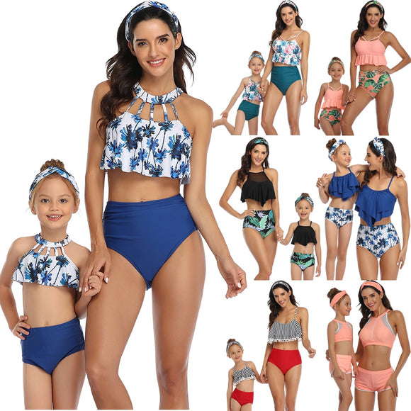 Rubylong Ruffles Mom Kid Matching Swimsuit Brazilian High Waist Bikini Set Push Up