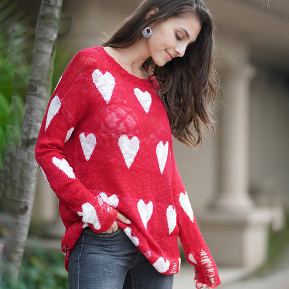 Fitshinling Women's Ripped Heart Long Sleeve Sweater Hollow Out Pullovers