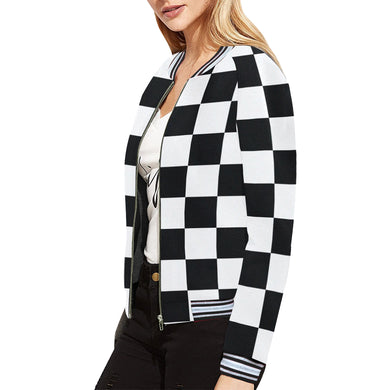 Black White Checkers All Over Print Bomber Jacket for Women (Model H21)