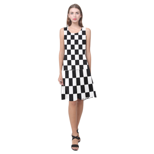 Black White Checkers Sleeveless Splicing Shift Dress(Model D17)