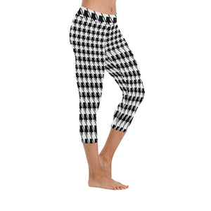 Black White Houndstooth New Low Rise Capri Leggings (Flatlock Stitch) (Model L09)
