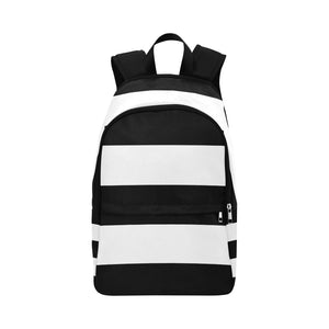 Black White Stripes Fabric Backpack for Adult (Model 1659)