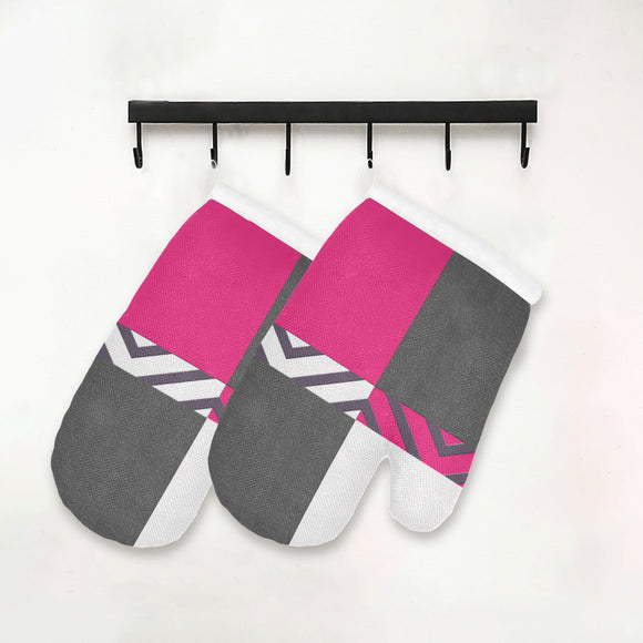 Monochrome Pink Tiles Oven Mitt (Two Pieces)