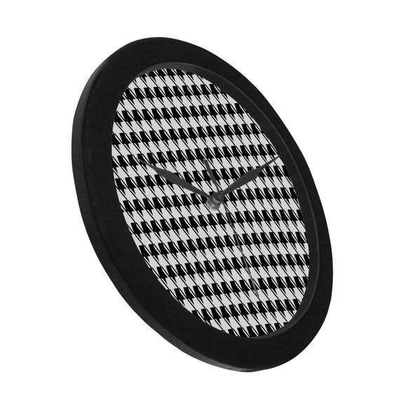 Black White Houndstooth Circular Plastic Wall clock