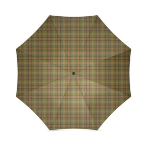 Gold Olive Plaid Foldable Umbrella