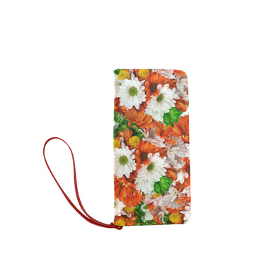 Green Orange White Daisies Women's Clutch Wallet (Model 1637)