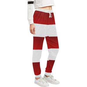 Red White Stripes Women's All Over Print Sweatpants (Model L11)