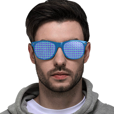 Bluish Plaid Custom Goggles (Perforated Lenses)