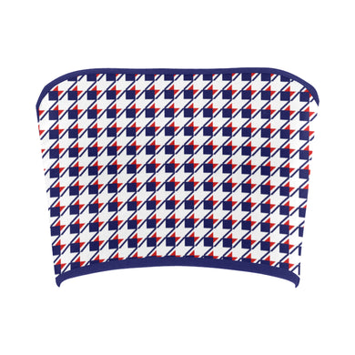 Red White Blue Houndstooth Bandeau Top