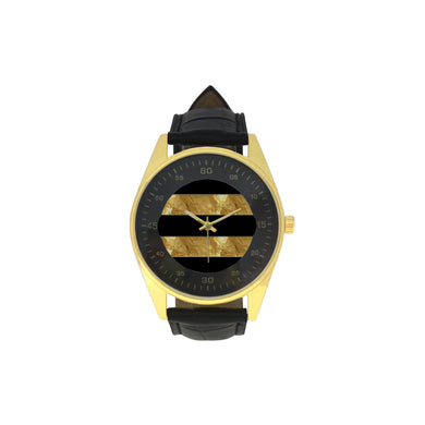Black Gold Stripes Men's Golden Leather Strap Watch(Model 210)