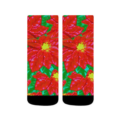 Red Orange Poinsettias Quarter Socks