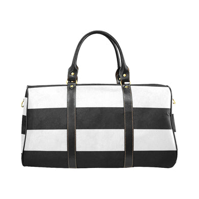 Black White Stripes New Waterproof Travel Bag/Small (Model 1639)