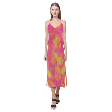Yellow Red Damask V-Neck Open Fork Long Dress(Model D18)