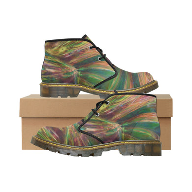 Abstract Colorful Glass Women's Nubuck Chukka Boots (Model 2402)