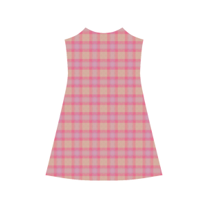 Pink Purple Plaid Alcestis Slip Dress (Model D05)