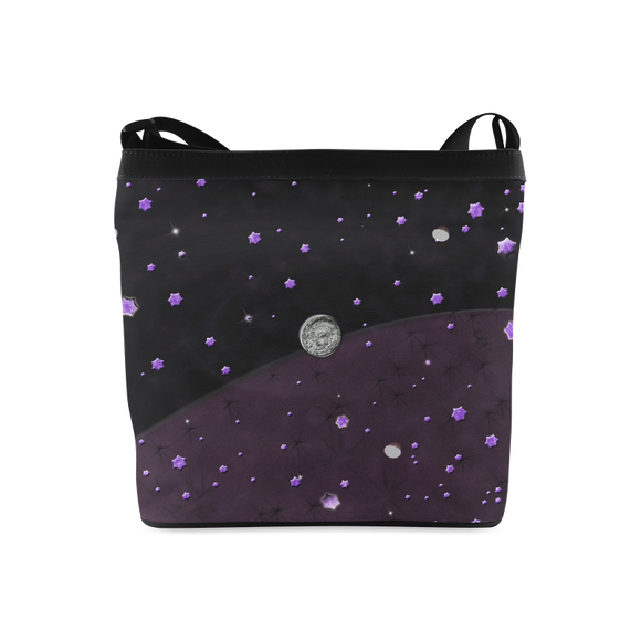 Lost Midnight Charcoal Stars Crossbody Bags (Model 1613)