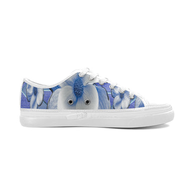Blue Dogwood Flowers Women's Canvas Zipper Shoes/Large Size (Model 001)