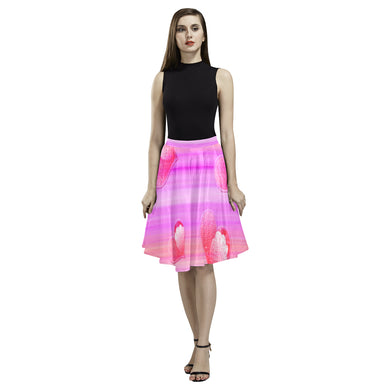 Falling Hearts Melete Pleated Midi Skirt (Model D15)