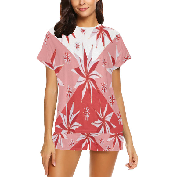 Reddish Cardnial Stars Women's Short Pajama Set (Sets 01)