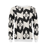 Black White Tiles All Over Print Crewneck Sweatshirt for Women (Model H18)