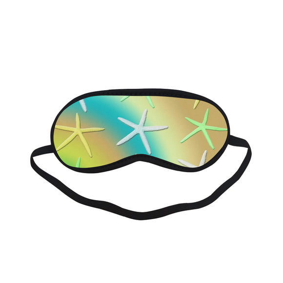 Lime White Yellow Starfishes Sleeping Mask