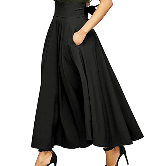Retro Gray Plus Size High Waist Pleated Belted Maxi Women's Vintage Long Skirt