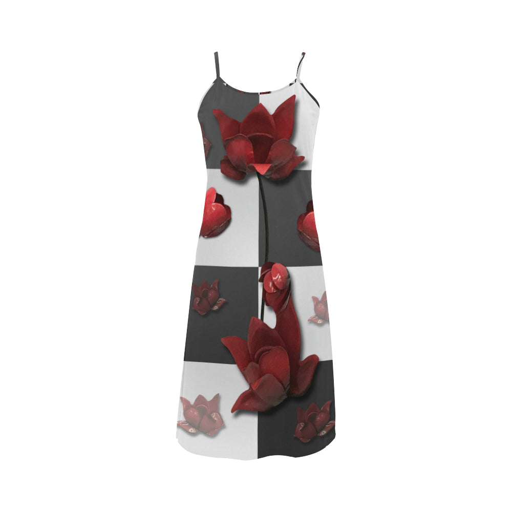 Burnt Crimson Flora Alcestis Slip Dress (Model D05)
