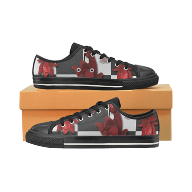 Burnt Crimson Flora Women's Classic Canvas Shoes (Model 018)