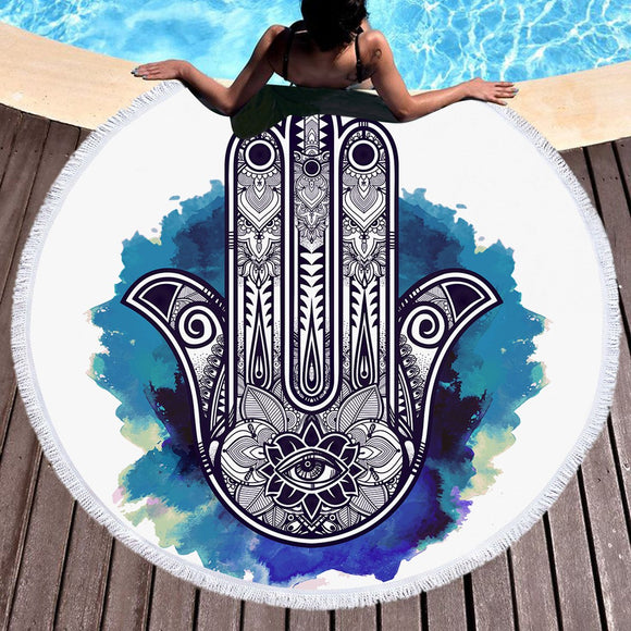 3D Printing Palm Round Bohemian Towel Tapestry Blanket