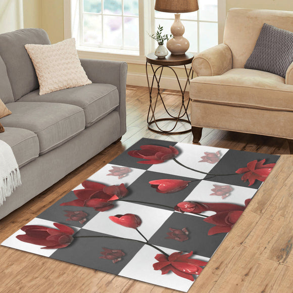 Burnt Crimson Flora Area Rug 5'3''x4'