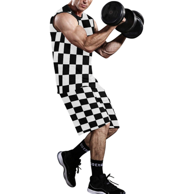 Black White Checkers All Over Print Basketball Uniform