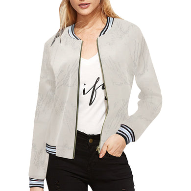 Pearl Bush All Over Print Bomber Jacket for Women (Model H21)