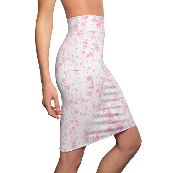 Pink Carnations Floral Women's Pencil Skirt