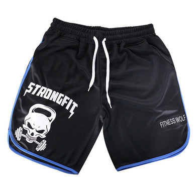 Men Quick Dry Skull Print Gym Sports Jogging Shorts