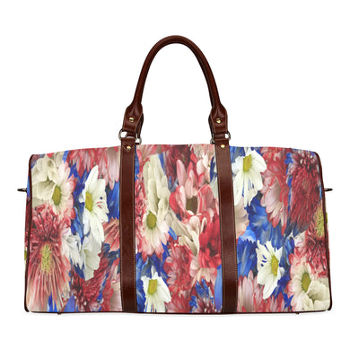 Red White Blue Flora Waterproof Travel Bag/Small (Model 1639)