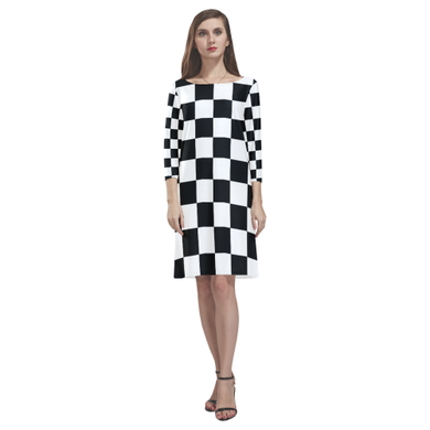 Black White Checkers Rhea Loose Round Neck Dress(Model D22)