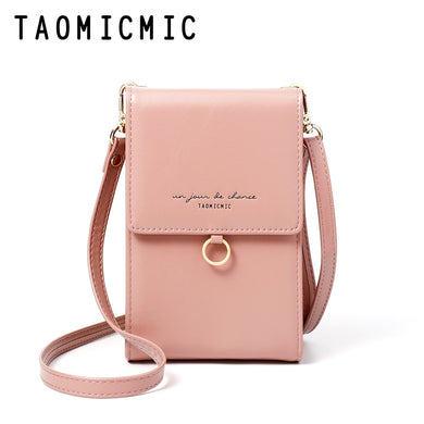 Taomicmic Women's Korean Casual Handbags Fashion Wallet PU Solid Color Retro Messenger Bag