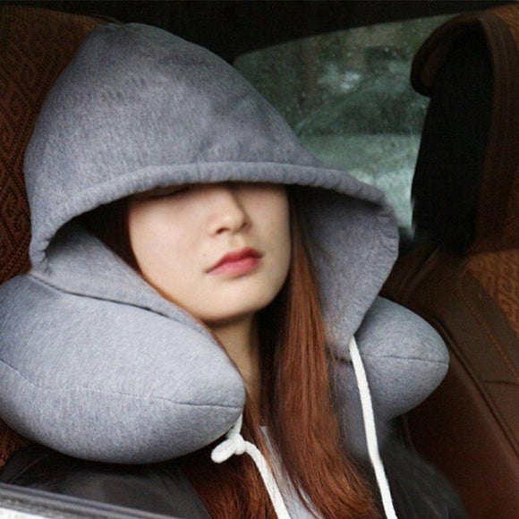 Adults Portable Travel Solid U Shaped Pillow Drawstring Microbeads Soft Hooded Neck