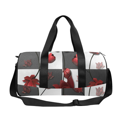 Burnt Crimson Flora Duffle Bag (Model 1679)