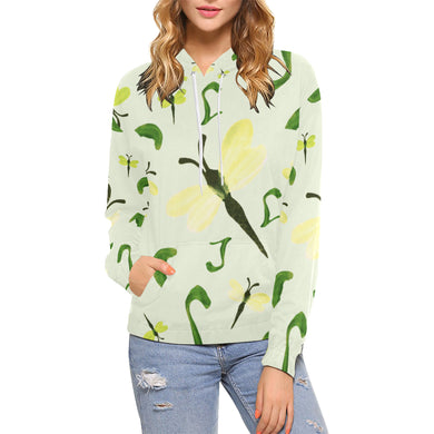 Olivine Dell Dragonflies All Over Print Hoodie for Women (USA Size) (Model H13)