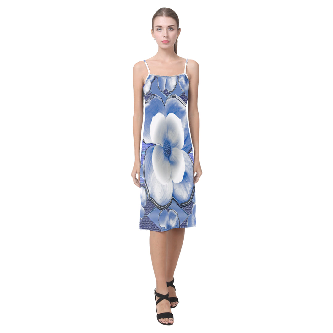 Blue Dogwood Flowers Alcestis Slip Dress (Model D05)