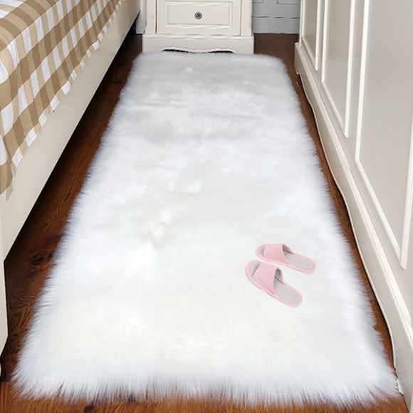 Artificial Wool Rectangle/Square Garnish Faux Plain Skin Fur Plain Fluffy Area Rug Washable
