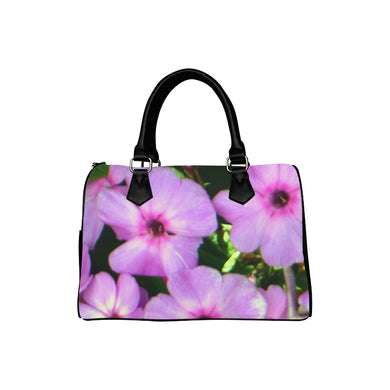 Fuschia Flowers Boston Handbag (Model 1621)